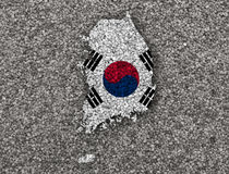 Map and flag of South Korea stock photo