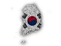 Map and flag of South Korea. Colorful and crisp image of map and flag of South Korea royalty free stock photography