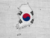 Map and flag of South Korea royalty free stock photo