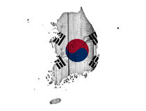Map and flag of South Korea. Colorful and crisp image of map and flag of South Korea stock photos