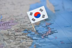 Map with flag of South Korea. The Map with flag of South Korea royalty free stock photo