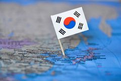 Map with flag of South Korea stock photo