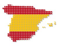 Map and flag of Spain Royalty Free Stock Photo