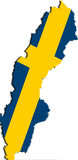 Map and flag of Sweden Royalty Free Stock Images