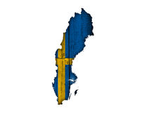 Map an flag of Sweden. Colorful and crisp image of map an flag of Sweden Stock Images