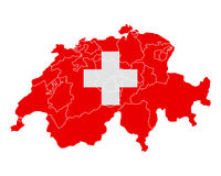 Map and flag of Switzerland Royalty Free Stock Photos