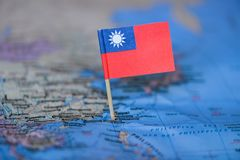 Map with flag of Taiwan royalty free stock images
