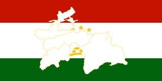 Map and flag of Tajikistan Royalty Free Stock Photo