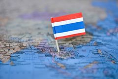 Map with flag of Thailand. The Map with flag of Thailand stock photo