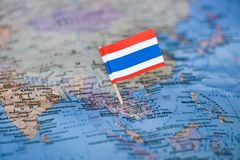 Map with flag of Thailand. The Map with flag of Thailand royalty free stock images