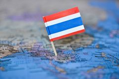 Map with flag of Thailand. The Map with flag of Thailand royalty free stock photo