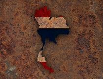 Map and flag of Thailand on rusty metal. Colorful and crisp image of map and flag of Thailand on rusty metal royalty free stock photo