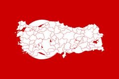 Map and flag of Turkey. Vector illustration. World map Royalty Free Stock Photo