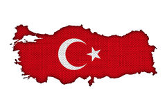 Map and flag of Turkey on old linen Stock Photo