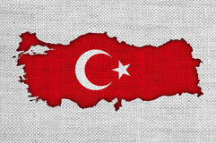 Map and flag of Turkey on old linen Stock Image