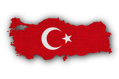 Map and flag of Turkey on old linen. Colorful and crisp image of map and flag of Turkey on old linen stock photography