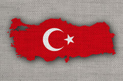 Map and flag of Turkey on old linen Royalty Free Stock Photo