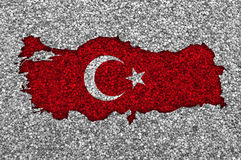 Map and flag of Turkey on poppy seeds Royalty Free Stock Image
