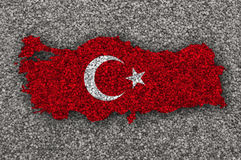 Map and flag of Turkey on poppy seeds Stock Image