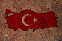 Map and flag of Turkey on rusty metal Royalty Free Stock Photos