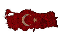 Map and flag of Turkey on rusty metal Royalty Free Stock Image