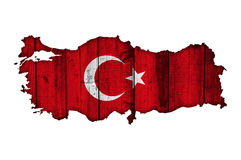 Map and flag of Turkey on weathered wood Stock Images