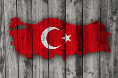 Map and flag of Turkey on weathered wood Stock Image