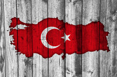 Map and flag of Turkey on weathered wood Stock Photography
