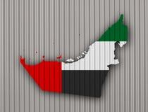 Map and flag of United Arab Emirates on corrugated iron Stock Photo