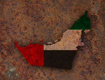 Map and flag of United Arab Emirates on rusty metal Stock Photography