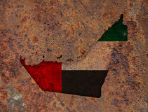 Map and flag of United Arab Emirates on rusty metal Stock Photos