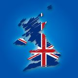 Map and the flag of the United Kingdom Royalty Free Stock Photography