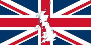 Map and flag of United Kingdom Royalty Free Stock Images