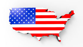 Map with the Flag of the United States of America Royalty Free Stock Images