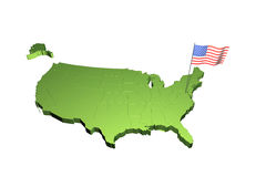Map and flag of USA Stock Photo