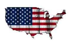 Map and flag of the USA on weathered wood Stock Photos
