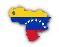 Map and flag of Venezuela Royalty Free Stock Image