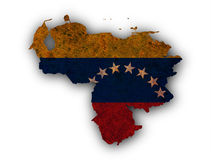 Map and flag of Venezuela on rusty metal Royalty Free Stock Images