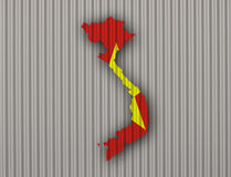Map and flag of Vietnam on corrugated iron. Colorful and crisp image of map and flag of Vietnam on corrugated iron stock photos
