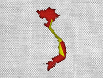 Map and flag of Vietnam on old linen. Colorful and crisp image of map and flag of Vietnam on old linen royalty free stock photography