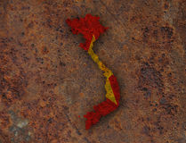 Map and flag of Vietnam on rusty metal. Colorful and crisp image of map and flag of Vietnam on rusty metal stock images