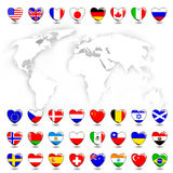 Map and flags Royalty Free Stock Photo