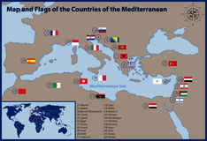 Map and Flags of the Countries of the Mediterranean Royalty Free Stock Photos