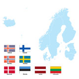 Map and flags of North Europe Stock Image