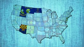 Map with flashing states of USA. Administration map of USA over digital background with flashing flags of states stock footage