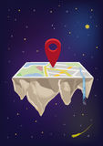 A Map or Flat Earth with a Locator Icon in the Middle. Editable Clip Art. Royalty Free Stock Photography