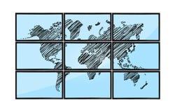 Map on flat panels. Map of world on flat panels on white background stock photos