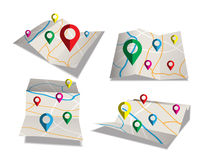 Map  Flat style design. And checkpoint icons Royalty Free Stock Photo