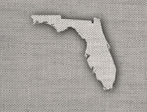 Map of Florida on old linen stock illustration