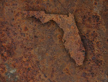 Map of Florida on rusty metal. Colorful and crisp image of map of Florida on rusty metal stock photo